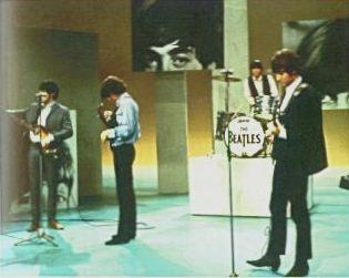 The Beatles in rehearsal for a return spot on The Ed Sullivan Show