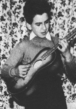 George at home (25 Upton Green) with his first Egmond guitar