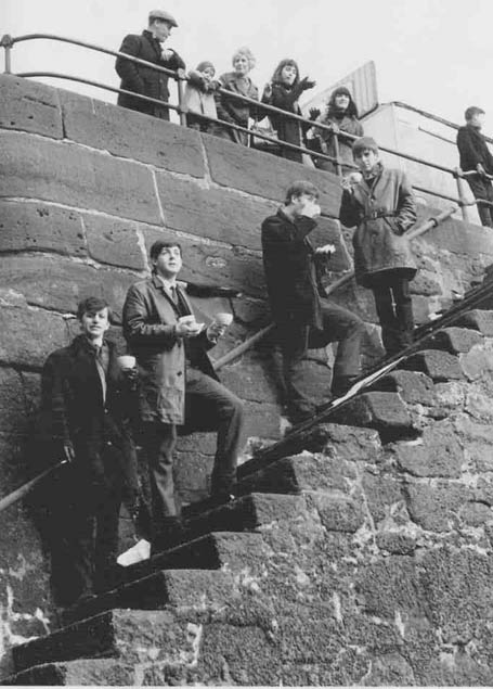 The Beatles by the banks of the River Mersey