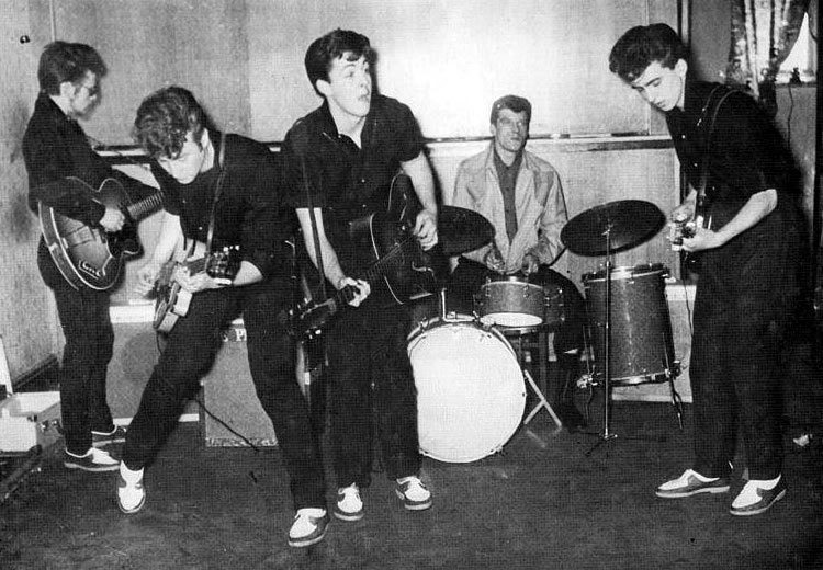 The Silver Beatles at the Larry Parnes audition with Johnny Hutchinson at drums (who replaces the la