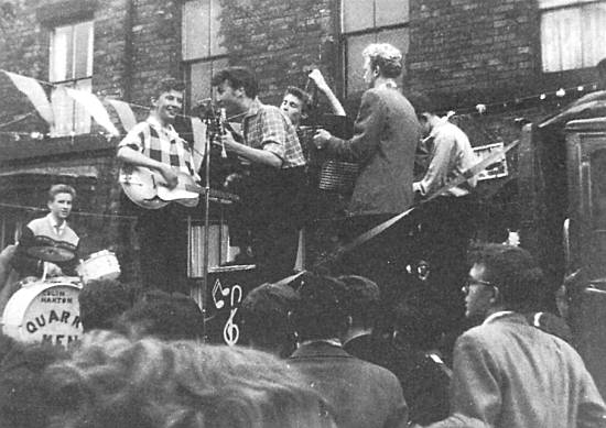 The Quarry Men play in Rosebery Street