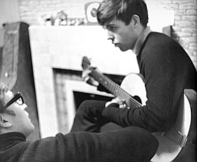 Paul and John composing at Paul's family  home