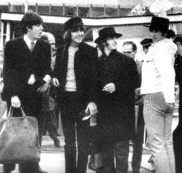 The Beatles arriving from European tour
