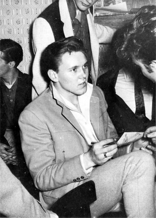 John gets an autograph from Billy Fury during the Silver Beatles audition for Larry Parnes