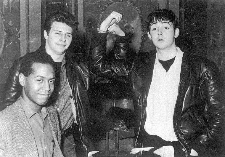 Emile Ford (?) Pete Best and Paul McCartney at the back stage of the Tower Ballroom