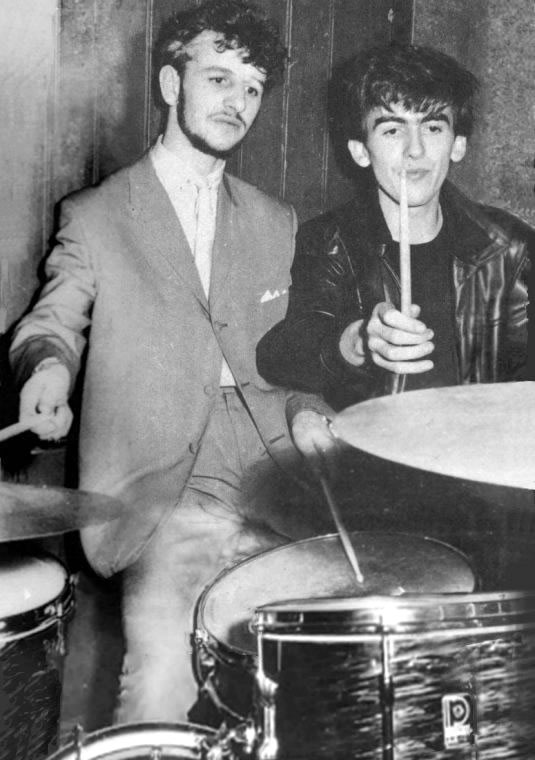 Ringo Starr of Rory Storm and the Hurricanes and George Harrison of the Beatles at the backstage of