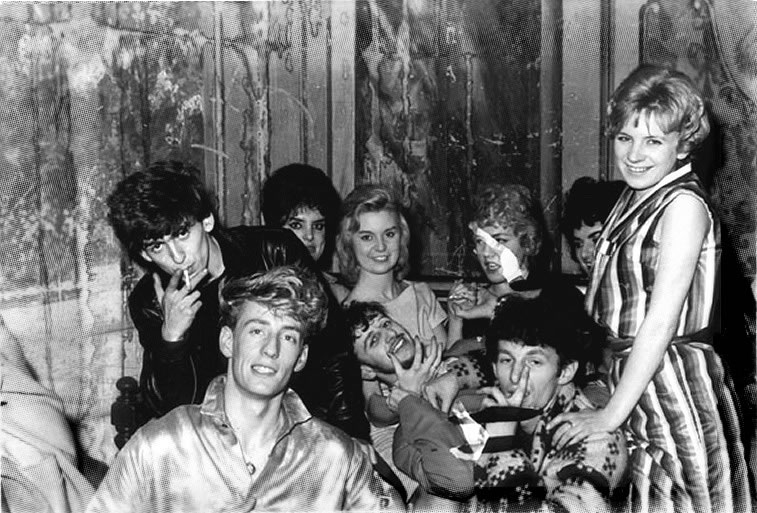 George Harrison of the Beatles with Rory Storm and the Hurricanes at the backstage of the Tower Ball
